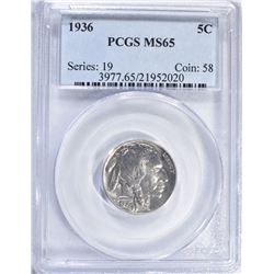 1936 BUFFALO NICKEL PCGS MS-65