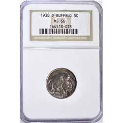 1938-D BUFFALO NICKEL NGC MS-66