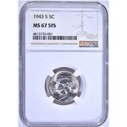 1943-S JEFFERSON NICKEL NGC MS-67 5FS