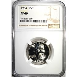 1964 WASHINGTON QTR NGC PF69