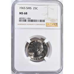 1965 SMS WASHINGTON QUARTER, NGC MS-68