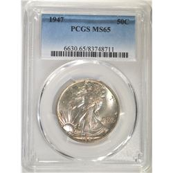 1947 WALKING LIBERTY HALF DOLLAR, PCGS MS-65