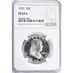 1957 FRANKLIN HALF DOLLAR, NGC PF-67*