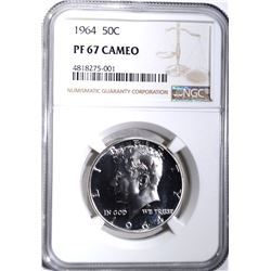 1964 KENNEDY HALF DOLLAR NGC PF67 CAMEO