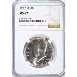 1987-D KENNEDY HALF DOLLAR, NGC MS-67