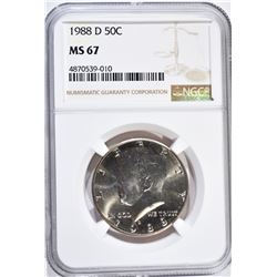 1988-D KENNEDY HALF DOLLAR, NGC MS-67