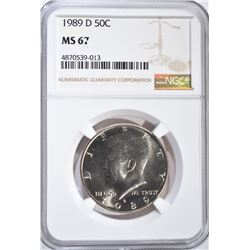 1989-D KENNEDY HALF DOLLAR, NGC MS-67
