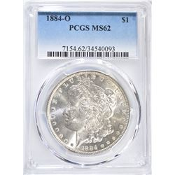 1884-O MORGAN DOLLAR, PCGS MS-62