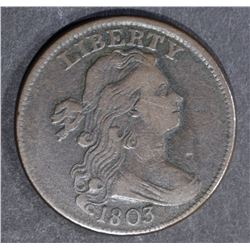 1803 DRAPED BUST LARGE CENT, XF