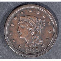 1845 LARGE CENT, CH BU