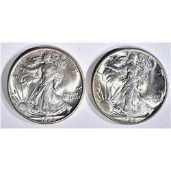 1943 & 44 WALKING LIBERTY HALF DOLLARS, CH BU