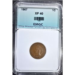 1867 INDIAN CENT, EMGC XF