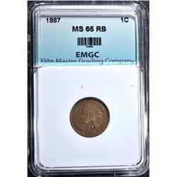 1887 INDIAN CENT, EMGC GEM BU RB