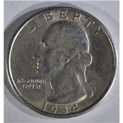 1934-D WASHINGTON QUARTER AU/BU