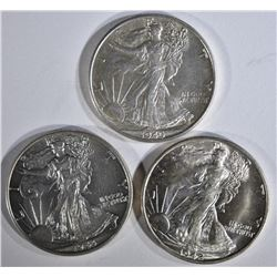 1942-D BU, 43 AU/BU & 45 BU WALKING LIBERTY HALVES