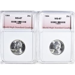 2-WASHINGTON QTRS GRADED WHSG