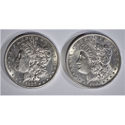 1887-S AU+, & 1896 BU MORGAN DOLLARS