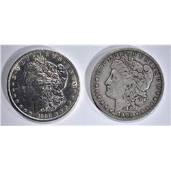 1890-S AU & 1901-S VF MORGAN DOLLARS