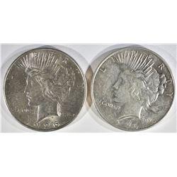 1926-D XF, & 1926-S BU PEACE DOLLARS