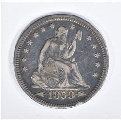 1853 ARROWS AND RAYS SEATED QUARTER XF