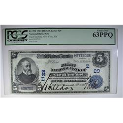 1902 $5 NATIONAL CURRENCY PCGS 63PPQ