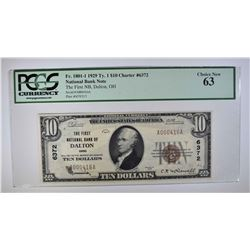 1929 TY. 1 $10 NATIONAL CURRENCY  PCGS 63