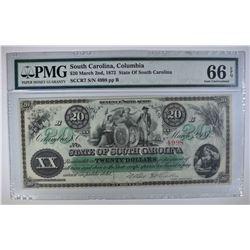 1872 $20 STATE OF SOUTH CAROLINA, COLUMBIA