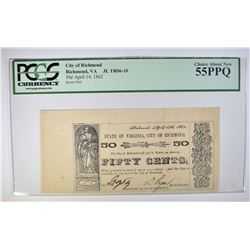 1862 FIFTY CENTS CITY OF RICHMOND