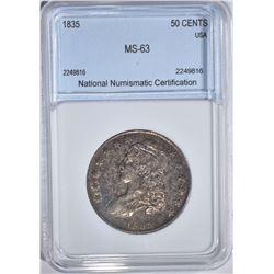 1835 CAPPED BUST HALF DOLLAR NNC CH BU