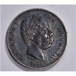 1899 SILVER 1 LIRA ITALY  GEM BU