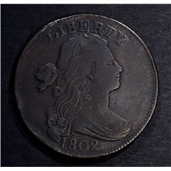 1802 DRAPED BUST LARGE CENT, VF/XF rim bump