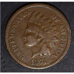 1874 INDIAN HEAD CENT, FINE+