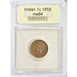 1859 INDIAN CENT. USCG CH/GEM BU