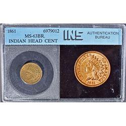 1861 INDIAN HEAD CENT  INS GEM BU BR.