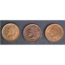 1901, 1906, 1907 INDIAN HEAD CENTS