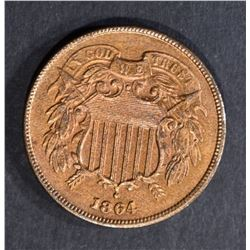 1864 2 CENT PIECE  CH BU RED