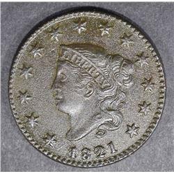 1821 LARGE CENT  AU/UNC