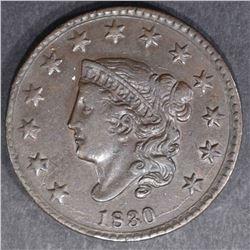 1830 LARGE CENT  AU/UNC