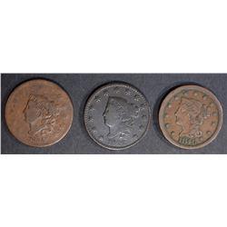 1822-FINE, 34-VG & 46-VF LARGE CENTS