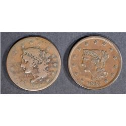 1839 SILLY HEAD FINE & 43 XF LARGE CENTS