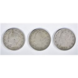 "LIBERTY ""V"" NICKELS: 1905 & 1902 XF,"