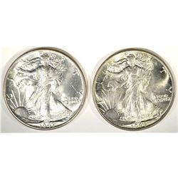 1943 & 44 CH BU WALKING LIBERTY HALF DOLLARS