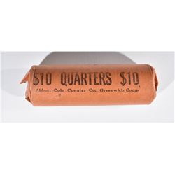 WRAPPED ROLL OF BU 1964 WASHINGTON QUARTERS