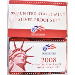 2008 & 09 U.S. SILVER PROOF SETS