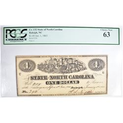 1863 $1.00 STATE OF NORTH CAROLINA