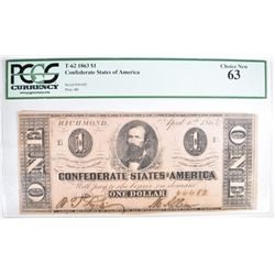 1863 $1.00 CONFEDERATE STATES OF AMERICA