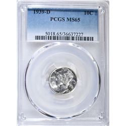 1939-D MERCURY DIME  PCGS MS65