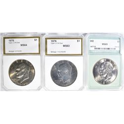 3 GRADED EISENHOWER DOLLARS: