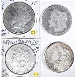 4 SILVER DOLLARS:  1901-O, 1921,