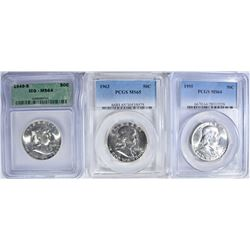 3 FRANKLIN HALF DOLLARS: